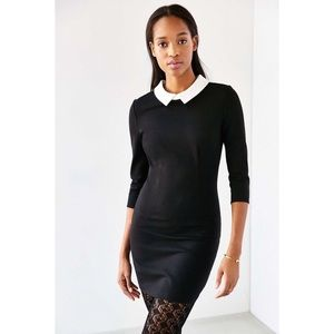 UO Cooperative Black Collared Ponte Dress